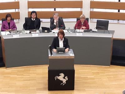 Bild: Karen Haltaufderheide bei ihrer Hausahltsrede in der Landschaftsversammlung
